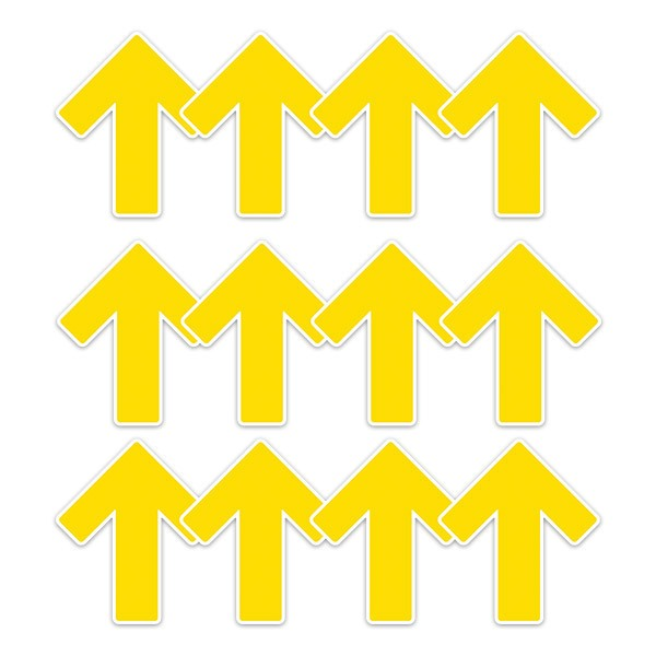 Car & Motorbike Stickers: Set For Floor 12X Yellow Arrows