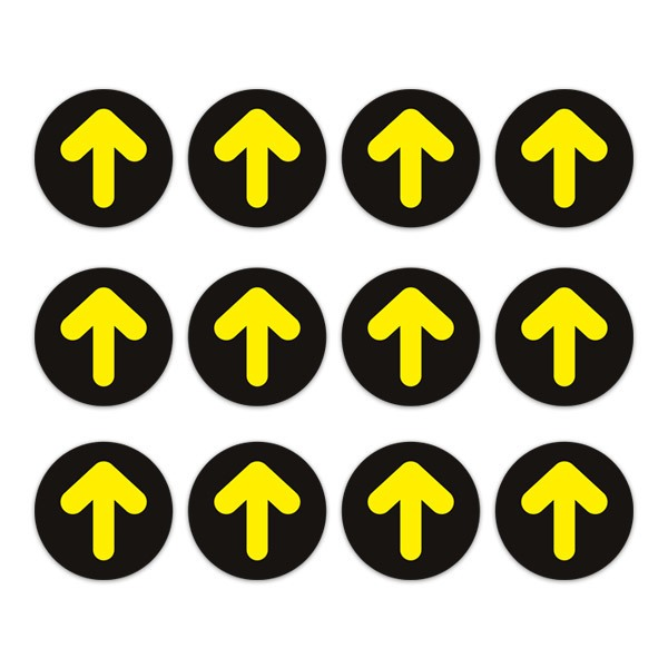 Car & Motorbike Stickers: Set For Floor 12X Yellow and Black Arrows