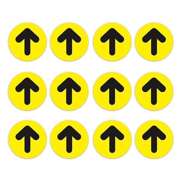 Car & Motorbike Stickers: Set For Floor 12X Black and Yellow Arrows