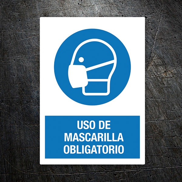 Car & Motorbike Stickers: Covid19 protection Mandatory mask in Spanish