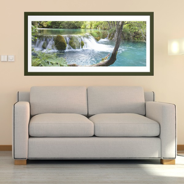 Wall Stickers: Vegetation and river and waterfall