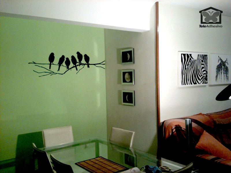 Wall Stickers: 6 Birds on a branch