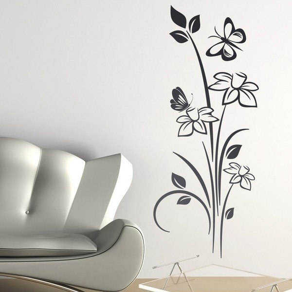 Wall sticker floral nelumbo for Stickers decorativos