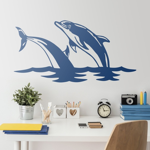 Wall Stickers: Couple of dolphins jump in the sea