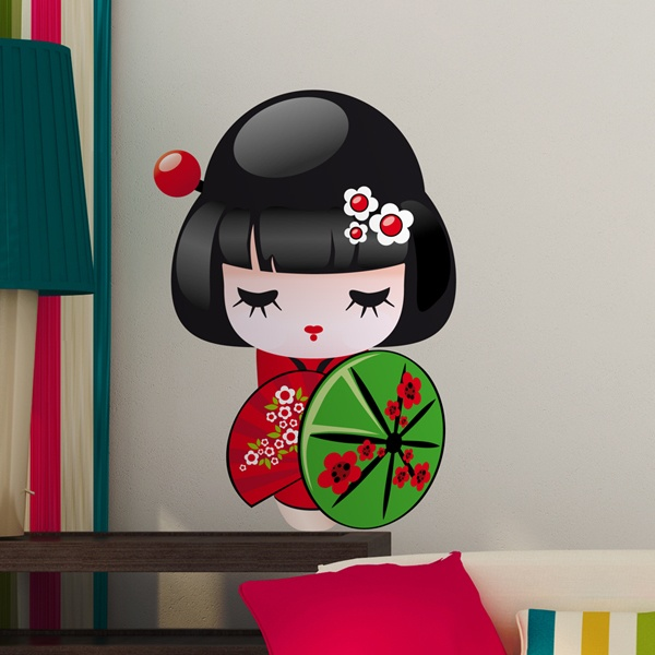 Stickers for Kids: Kokeshi doll with umbrella