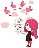 Stickers for Kids: Little girl with color messenger birds 4