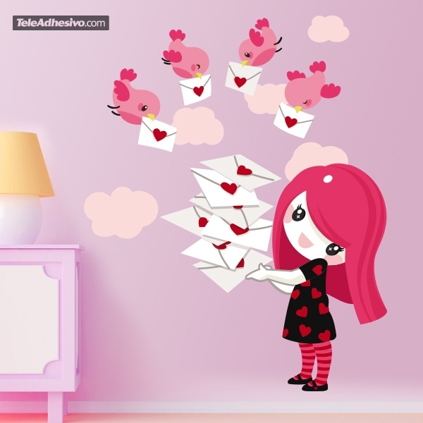 Stickers for Kids: Little girl with color messenger birds