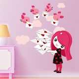 Stickers for Kids: Little girl with color messenger birds 5