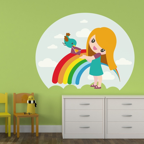 Stickers for Kids: Rainbow Girl