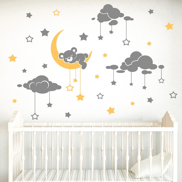 Stickers for Kids: Sleeping bear and starry sky 0