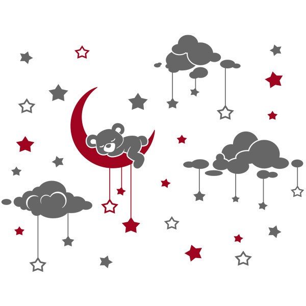 Stickers for Kids: Sleepy Teddy Bear sleepy and starry sky