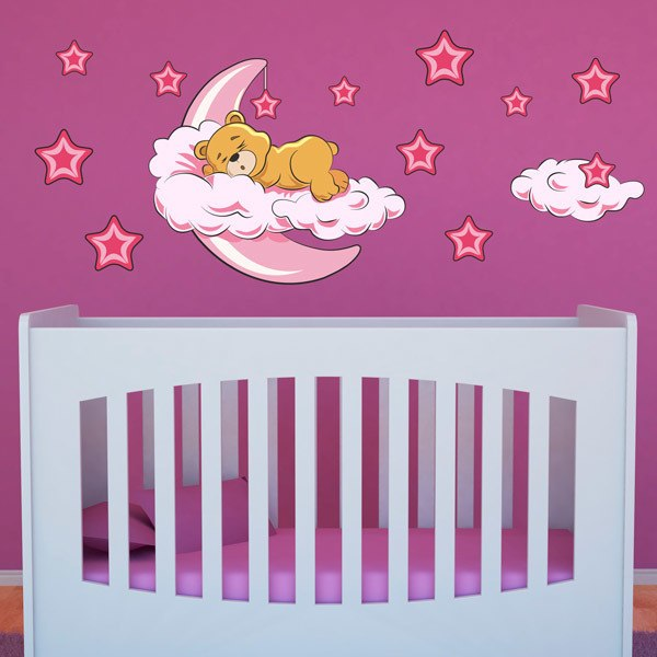 Stickers for Kids: Teddy bear in the clouds and moon pink