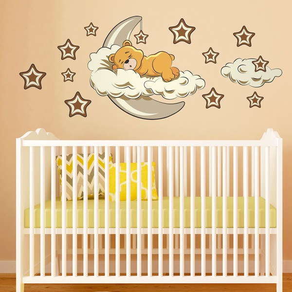 Stickers for Kids: Bear in the clouds and moon neutral