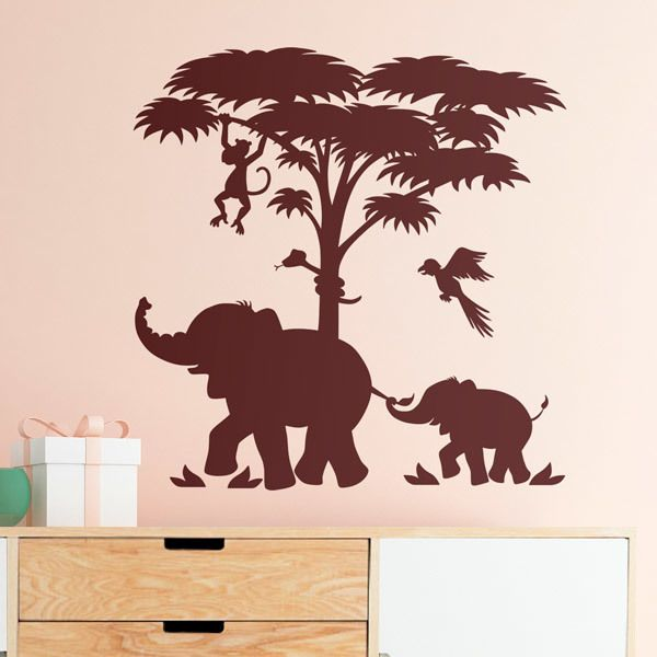 Stickers for Kids: Family of elephants in Africa