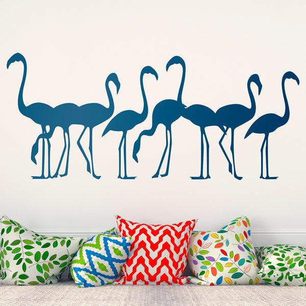 Wall Stickers: Herd of 8 flamingos