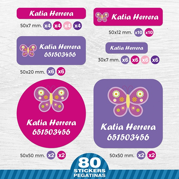 Car & Motorbike Stickers: Kit Labels Butterfly