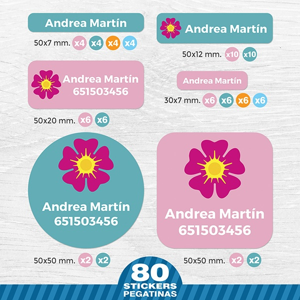 Car & Motorbike Stickers: Kit Labels Pink Flower
