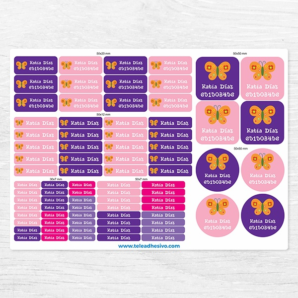 Car & Motorbike Stickers: Kit Labels Orange butterfly