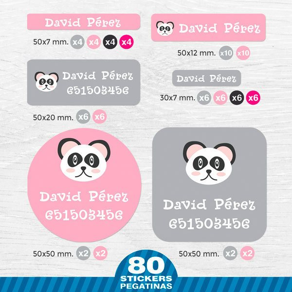 Car & Motorbike Stickers: Kit Name labels panda bear
