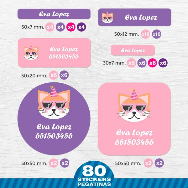 Car & Motorbike Stickers: Kit Name labels party cat