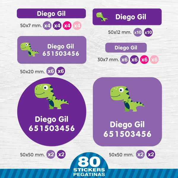 Car & Motorbike Stickers: Kit Name labels children's dinosaur