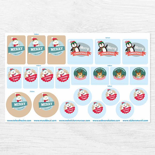Car & Motorbike Stickers: Kit tags Christmas Animals
