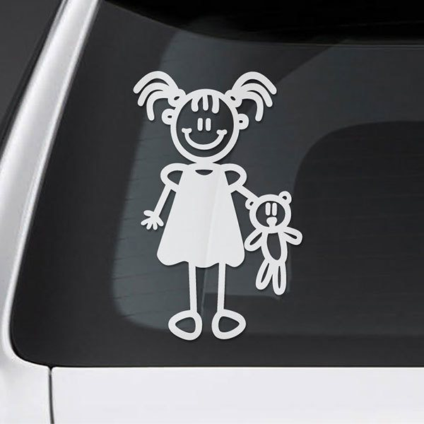 Car & Motorbike Stickers: Little girl with stuffed animal