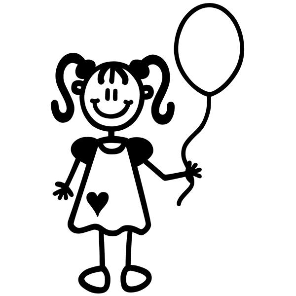 Car & Motorbike Stickers: Little girl with balloon