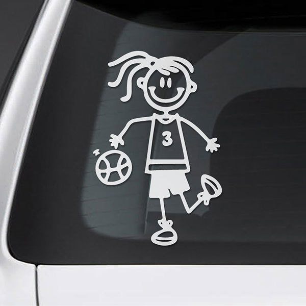 Car & Motorbike Stickers: Little girl playing basketball