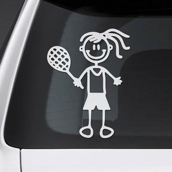 Car & Motorbike Stickers: Little girl playing tennis