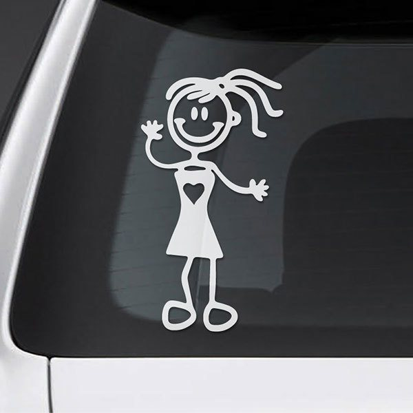 Car & Motorbike Stickers: Little girl waving