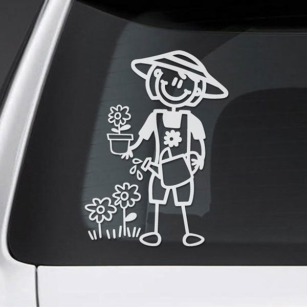 Car & Motorbike Stickers: Gardening mom
