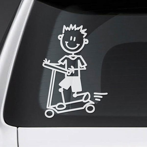 Car & Motorbike Stickers: Child of preschool in Scooter