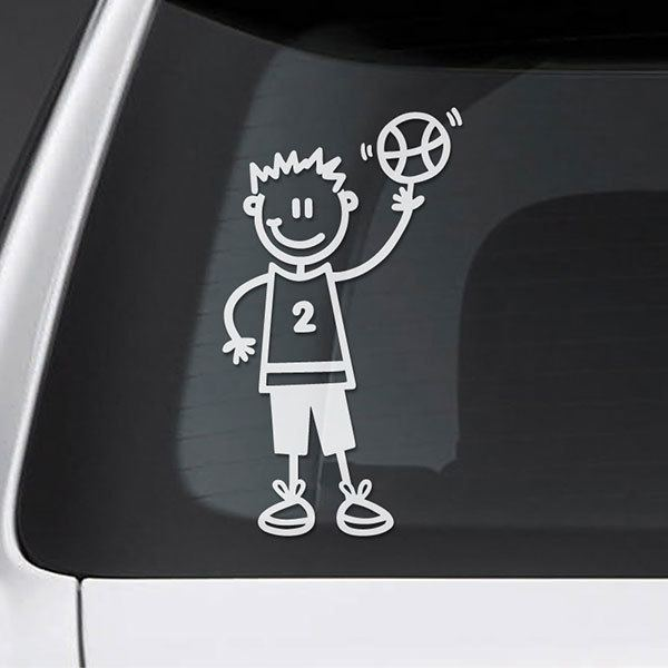Car & Motorbike Stickers: Boy playing basketball
