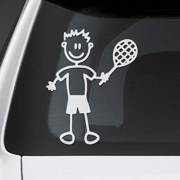 Car & Motorbike Stickers: Boy tennis player