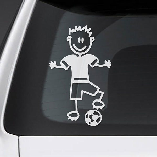 Car & Motorbike Stickers: Boy playing football 0