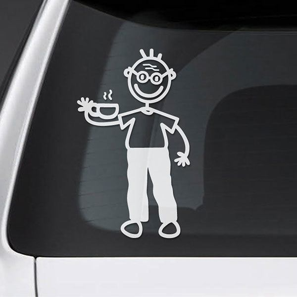 Car & Motorbike Stickers: Grandfather drinking coffee