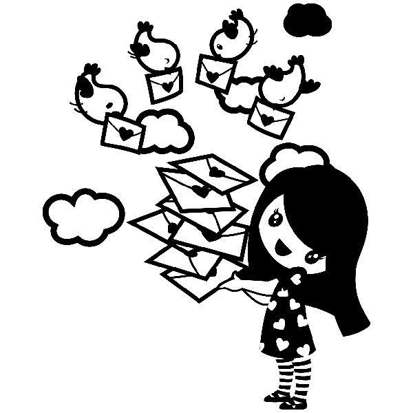 Stickers for Kids: Girl with messenger birds