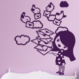 Stickers for Kids: Girl with messenger birds 4