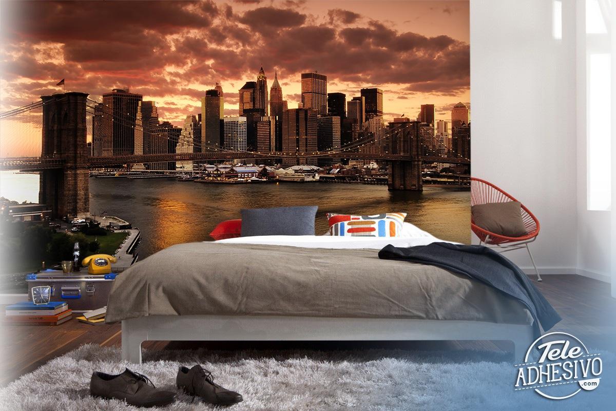 New York Skyline Wallpaper For Bedroom Sunset In New York