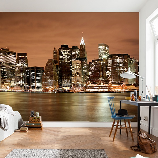 Wall Murals: New York Skyline at night