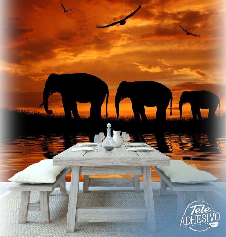 Wall Murals: Elephants migrating