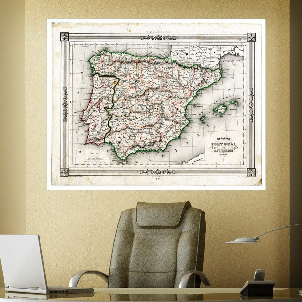 Wall Murals: Map of Spain and Portugal