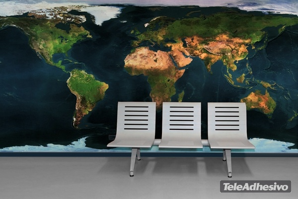 Wall Murals: World map from satellite
