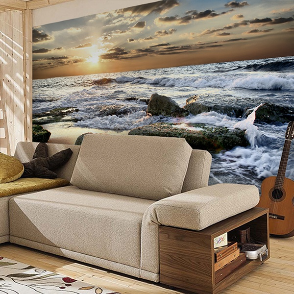 Wall Murals: Waves among the rocks