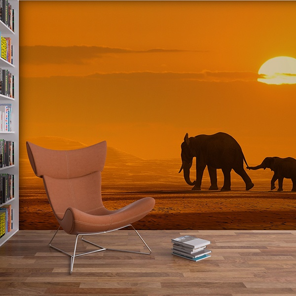 Wall Murals: Mother and elephant calf
