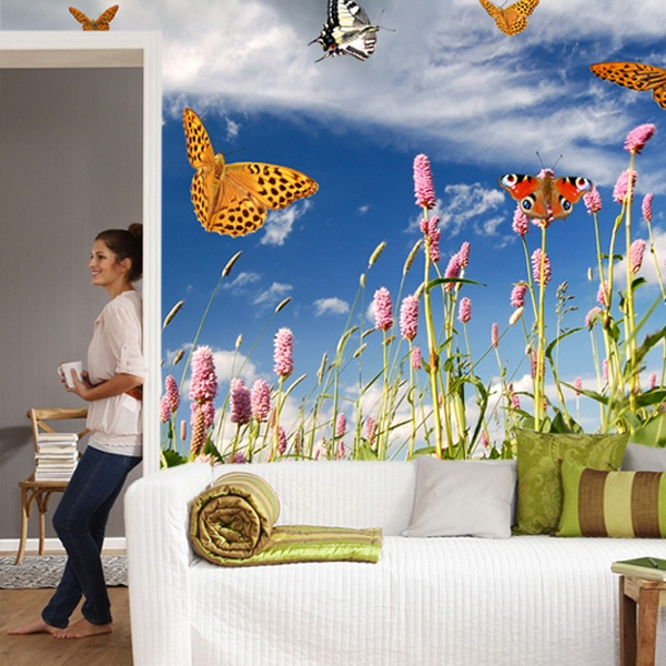 Wall Murals: Butterflies in Lavender field