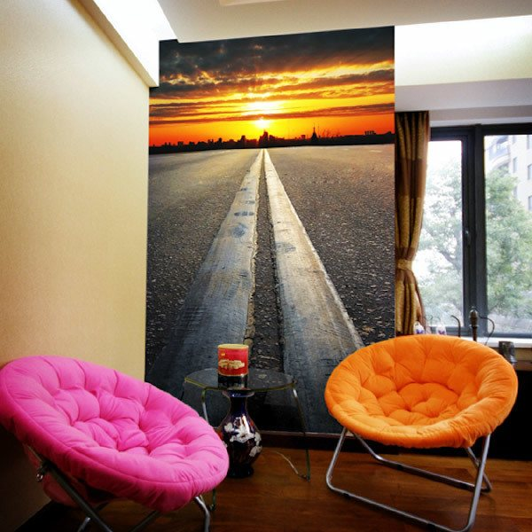 Wall Murals: Road towards sunset
