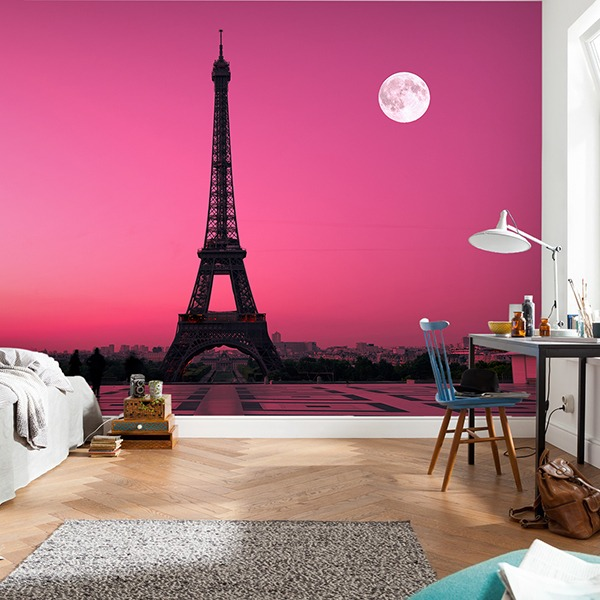 Wall Murals: Eiffel tower with magenta sky