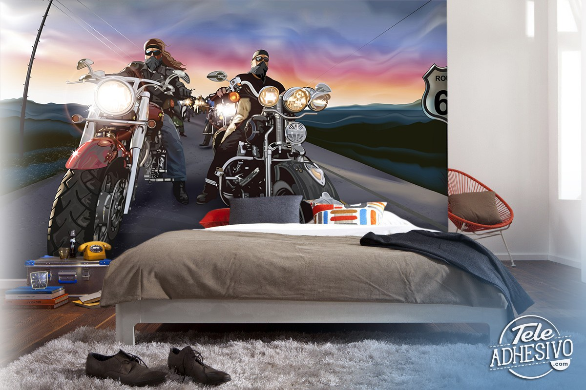 moteros comic wall murals comic bikers